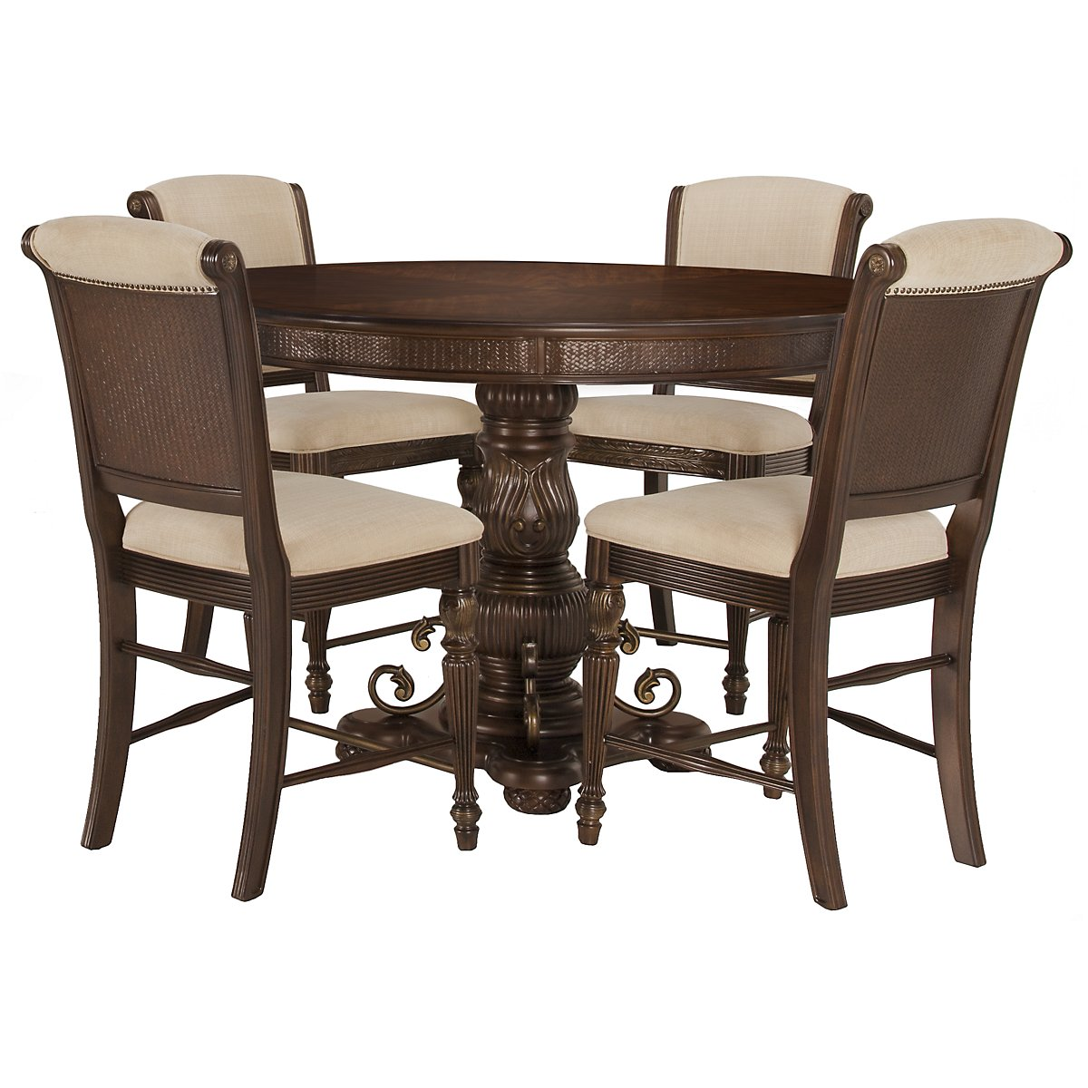 Tradewinds Dark Tone Wood High Table & 4 Upholstered Barstools