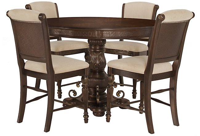 Tradewinds Dark Tone Round High Table & 4 Upholstered Barstools