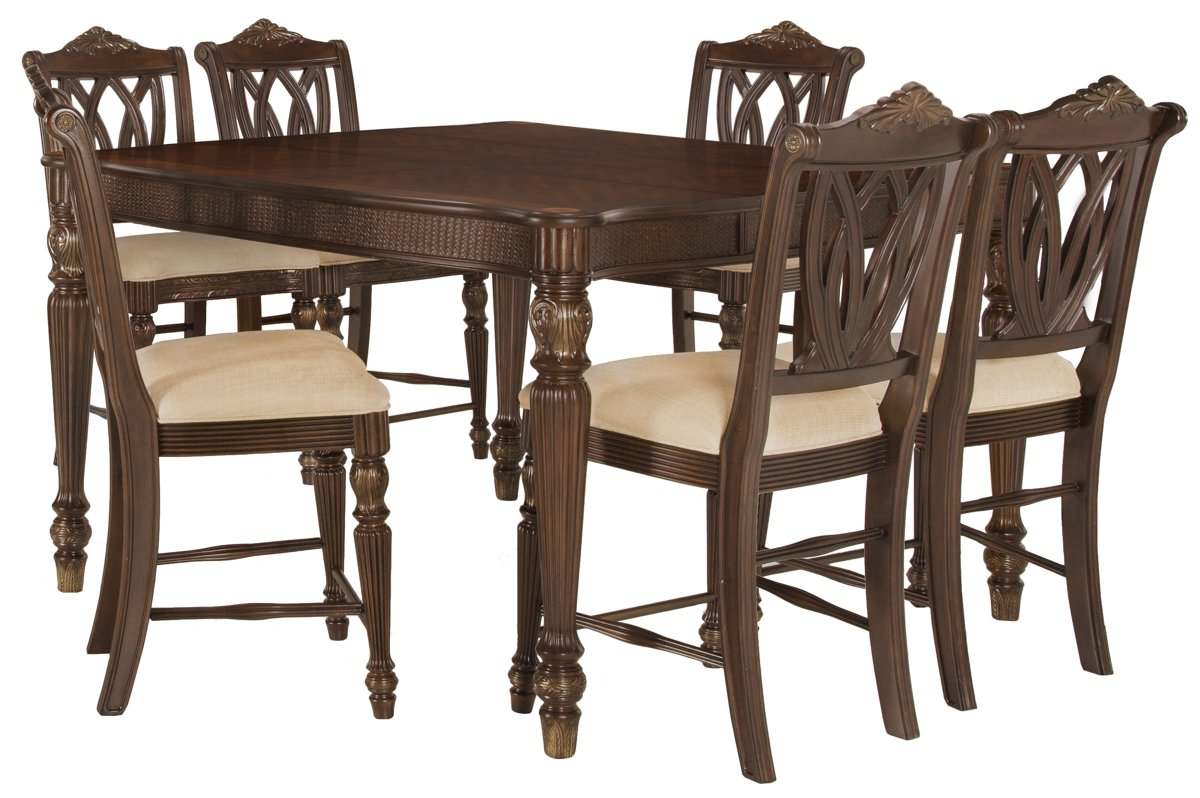 Tradewinds Dark Tone Square High Table & 4 Wood Barstools