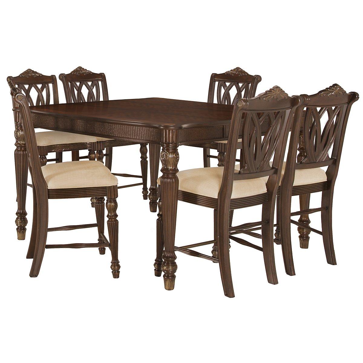 Tradewinds Dark Tone High Table & 4 Wood Barstools
