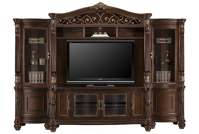 Tradewinds Dark Tone Wood Entertainment Wall