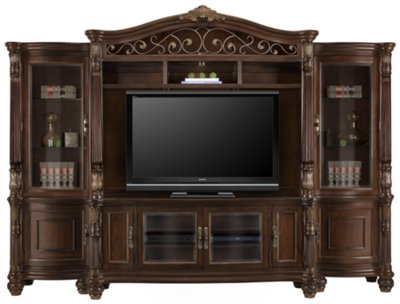 Perfect Tradewinds Dark Tone Entertainment Wall With Corners