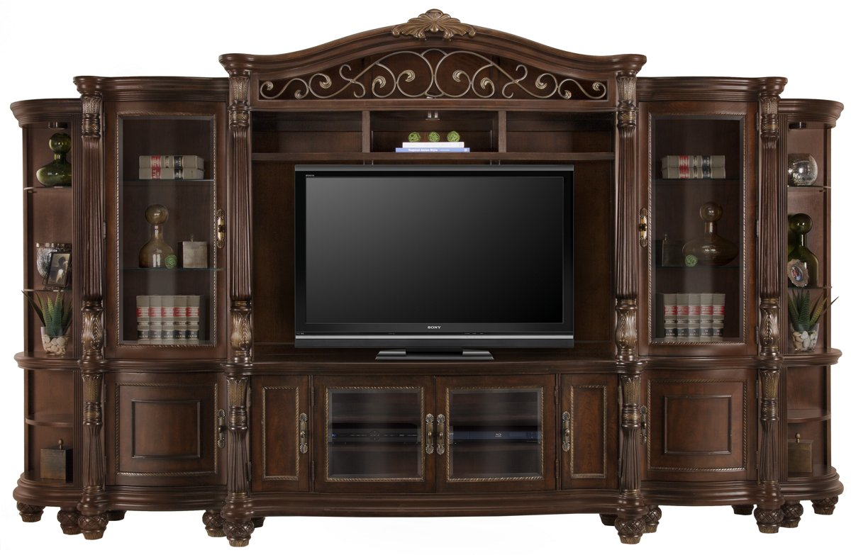 Tradewinds Dark Tone Wood Entertainment Wall with Corners
