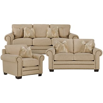Erin Light Brown Fabric Living Room
