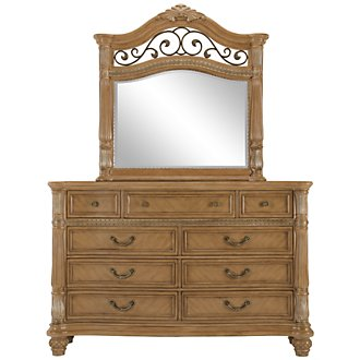 Tradewinds Light Tone Metal Dresser & Mirror