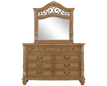 Tradewinds Light Tone Metal Dresser & Mirror