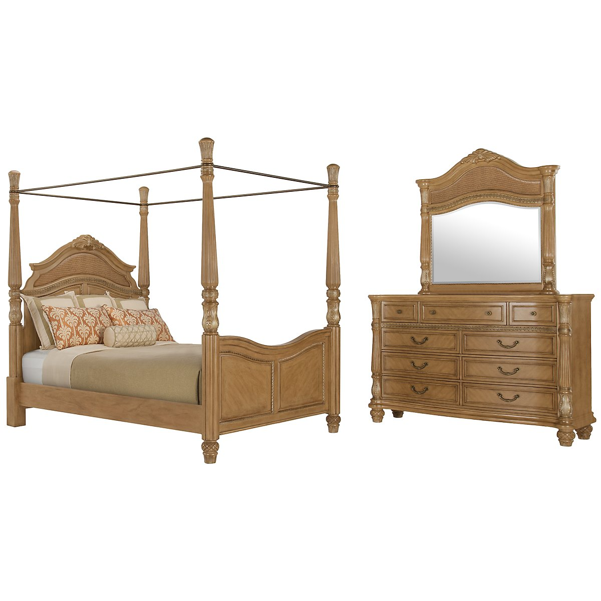 Tradewinds Light Tone Woven Canopy Bedroom