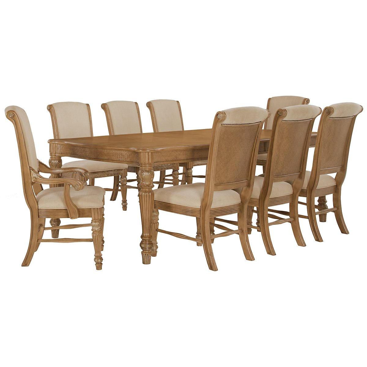 Tradewinds Light Tone Rectangular Table & 4 Upholstered Chairs