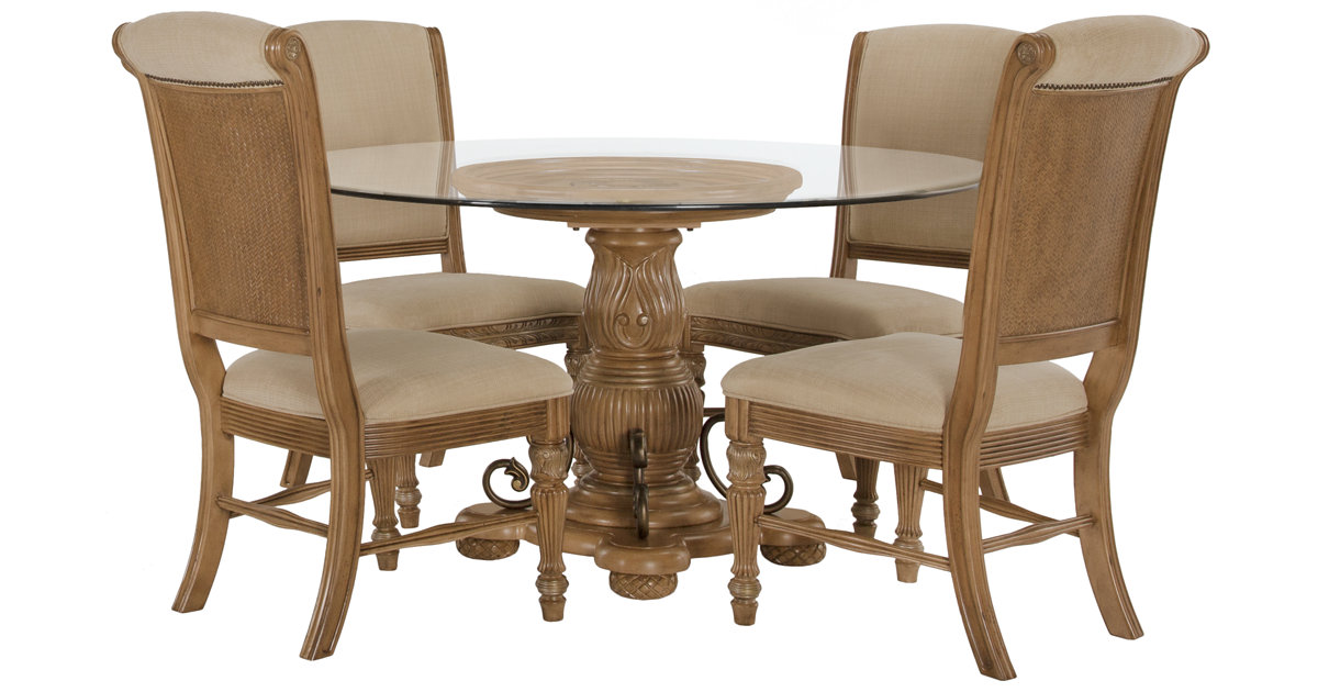 City Furniture Tradewinds Light Tone Glass Table 4 Upholstered Chairs