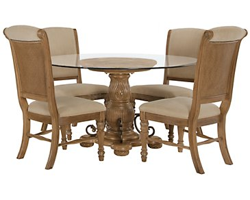 Tradewinds Light Tone Glass Table & 4 Upholstered Chairs