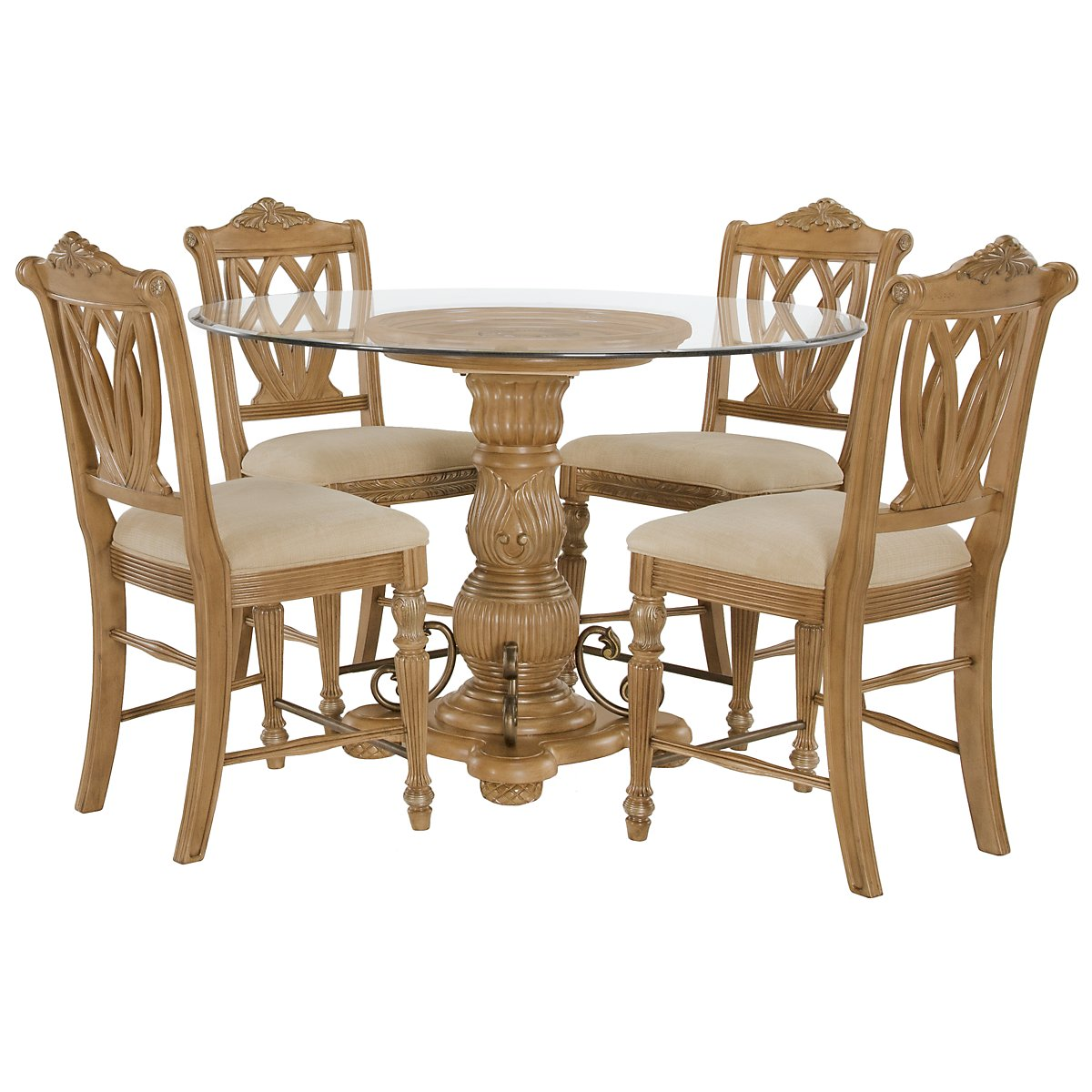 Tradewinds Light Tone Glass High Table & 4 Wood Barstools