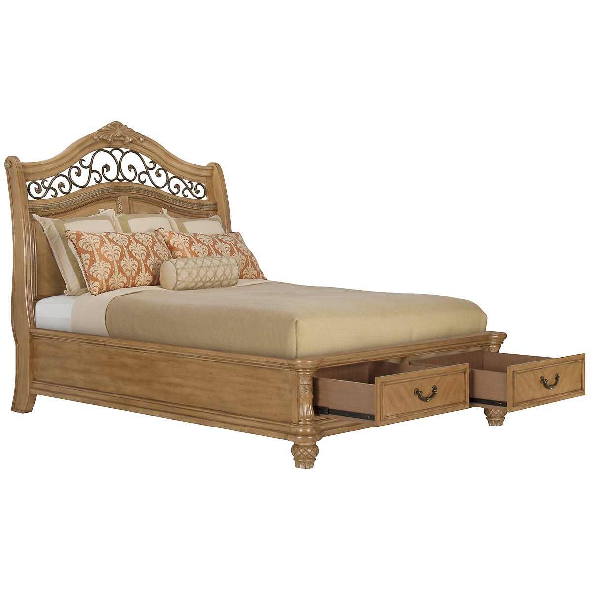 Tradewinds Light Tone Platform Storage Bed
