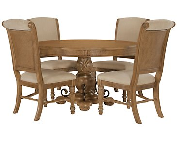Tradewinds Light Tone Round Table & 4 Upholstered Chairs