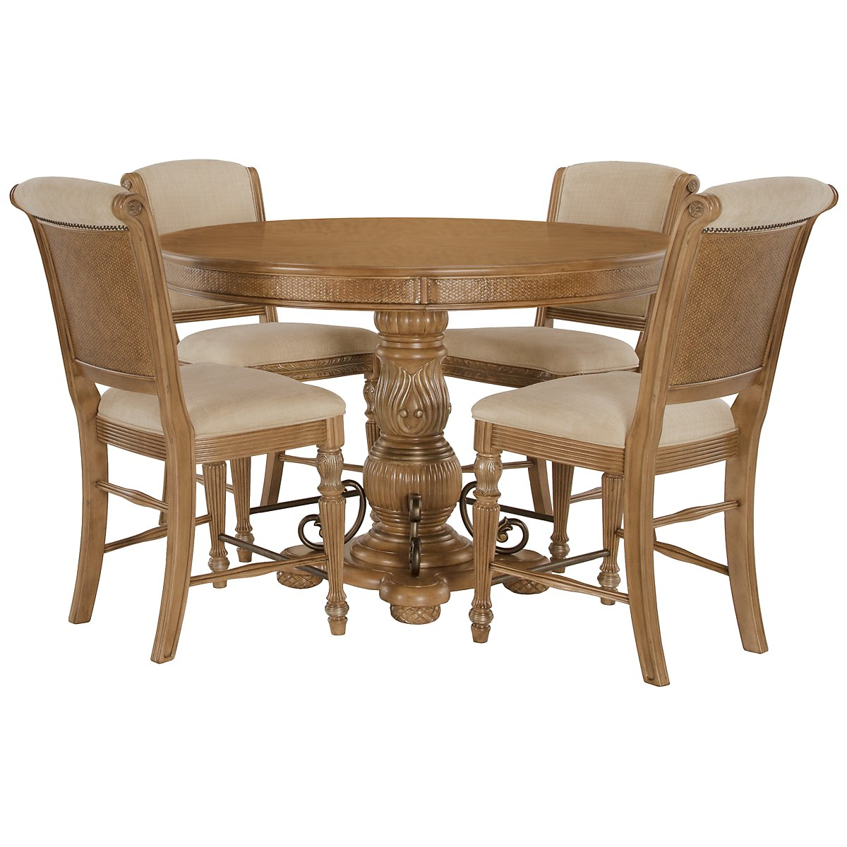 Tradewinds Light Tone Wood High Table & 4 Upholstered Barstools