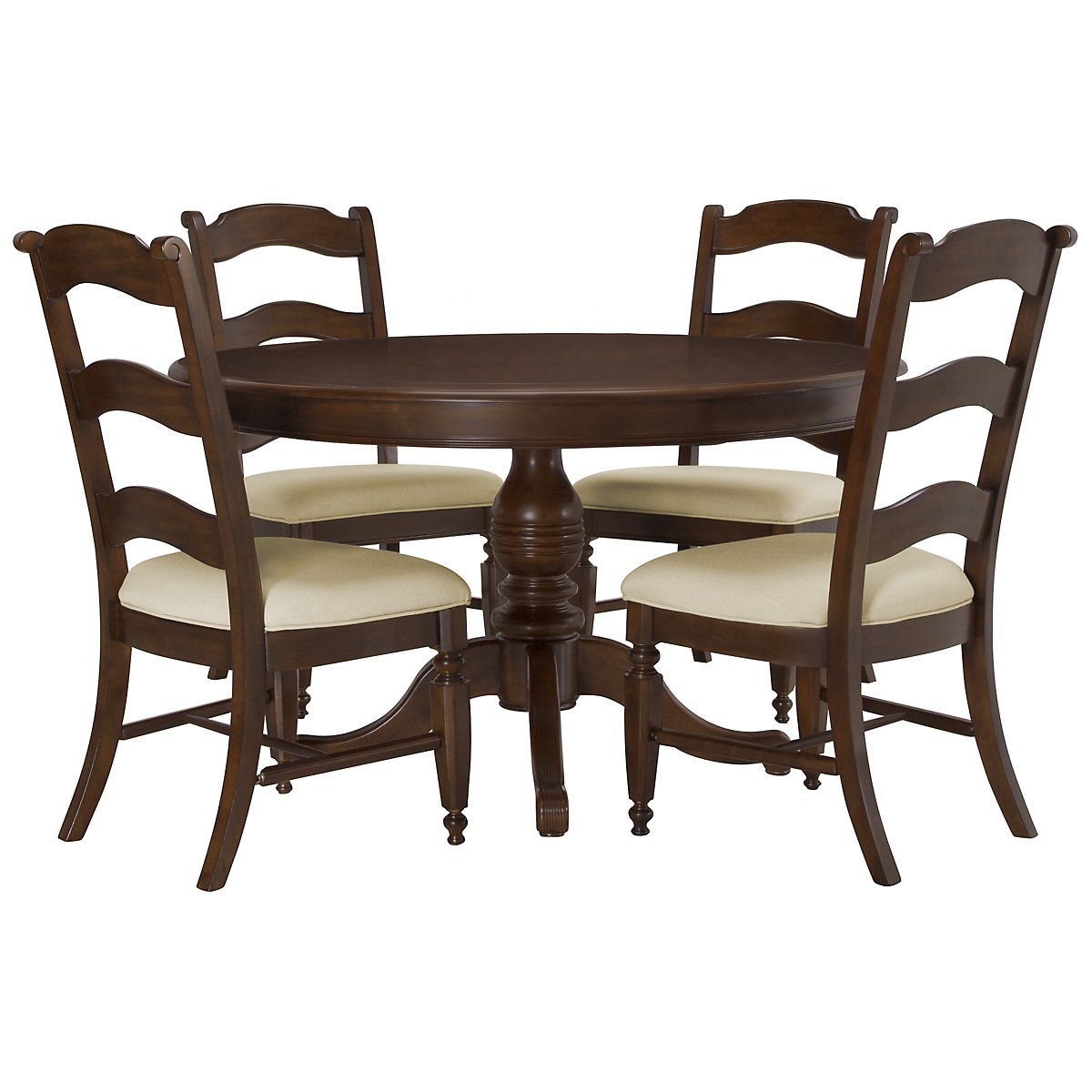 Claire Dark Tone Round Table & 4 Wood Chairs