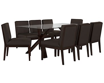 "Emma Dark Brown 83"" Table & 4 Bonded Chairs"