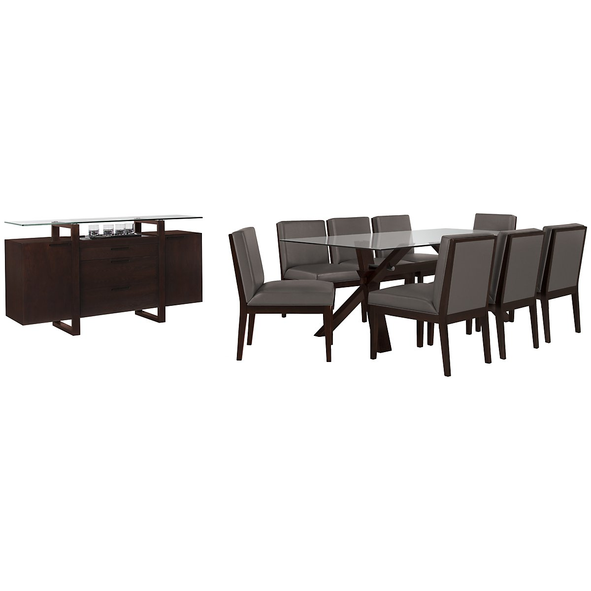 "Emma Dark Gray Glass 83"" Dining Room"