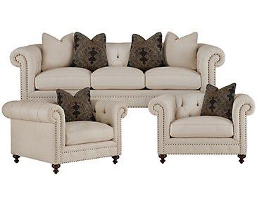 Riviera Light Beige Fabric Living Room