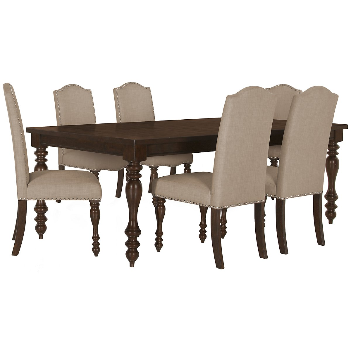 Mcgregor Dark Tone Rectangular Table & 4 Upholstered Chairs