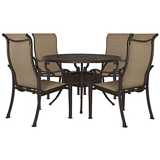 "Primera Dark Tone 48"" Round Table & 4 Sling Chairs"