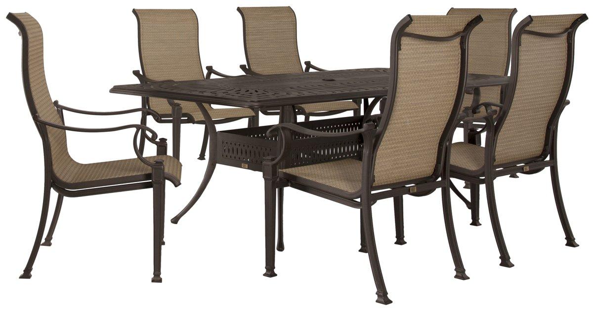 "Primera Dark Tone 87"" Rectangular Table & 4 Sling Chairs"