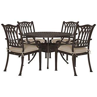 "Primera Dark Tone 48"" Round Table & 4 Cushioned Chairs"