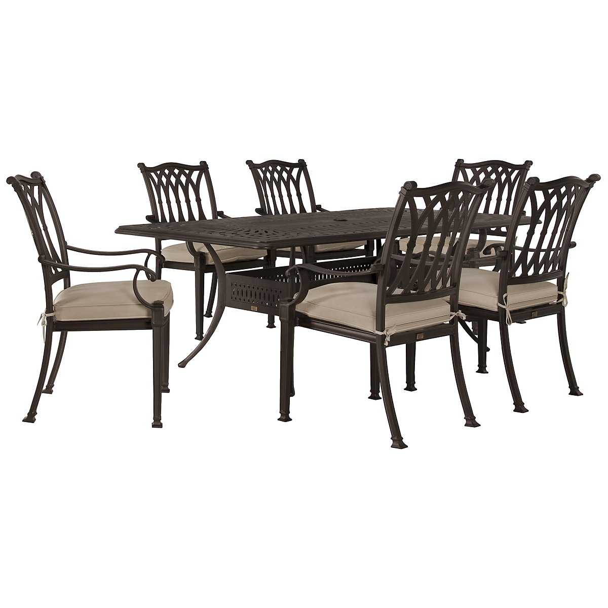 "Primera Dark Tone 87"" Rectangular Table & 4 Cushioned Chairs"