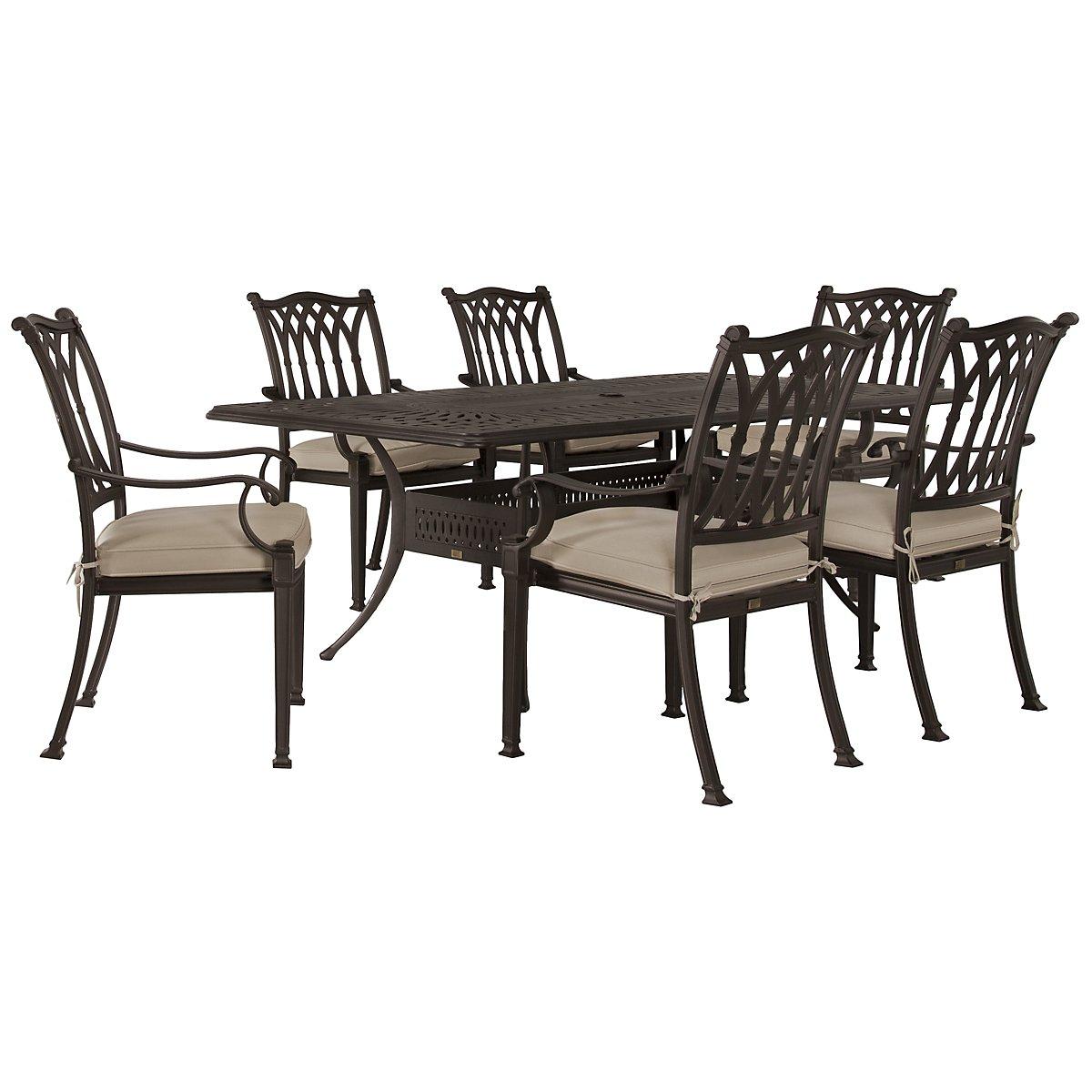 "Primera Dark Tone 87"" Rectangular Table & 4 Cushioned Chairs"
