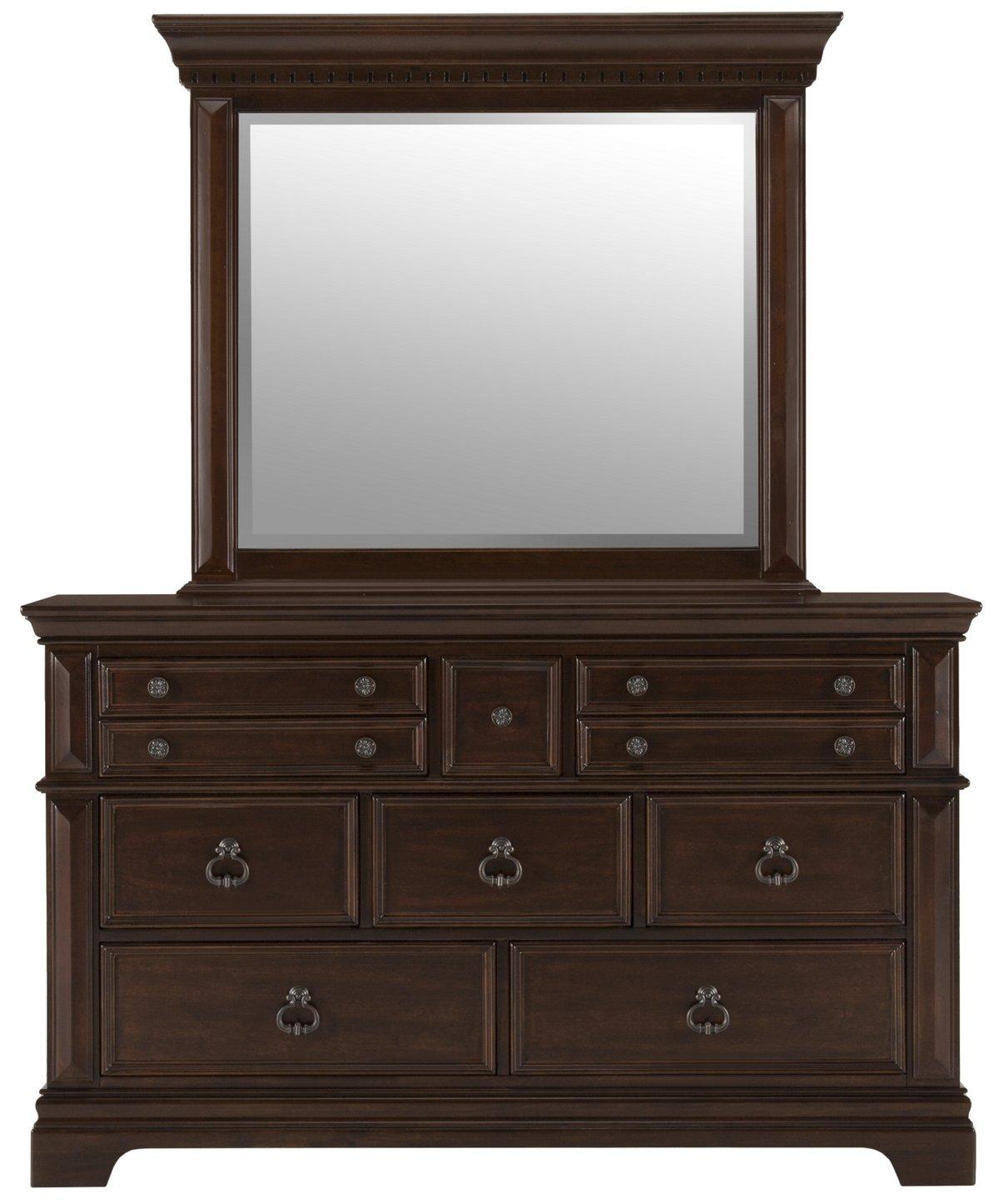 Emerson Dark Tone Wood Dresser & Mirror