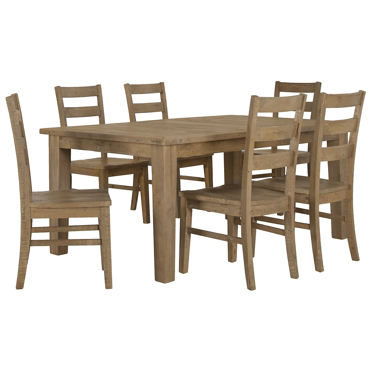 Jaden Light Tone Wood Table & 4 Wood Chairs
