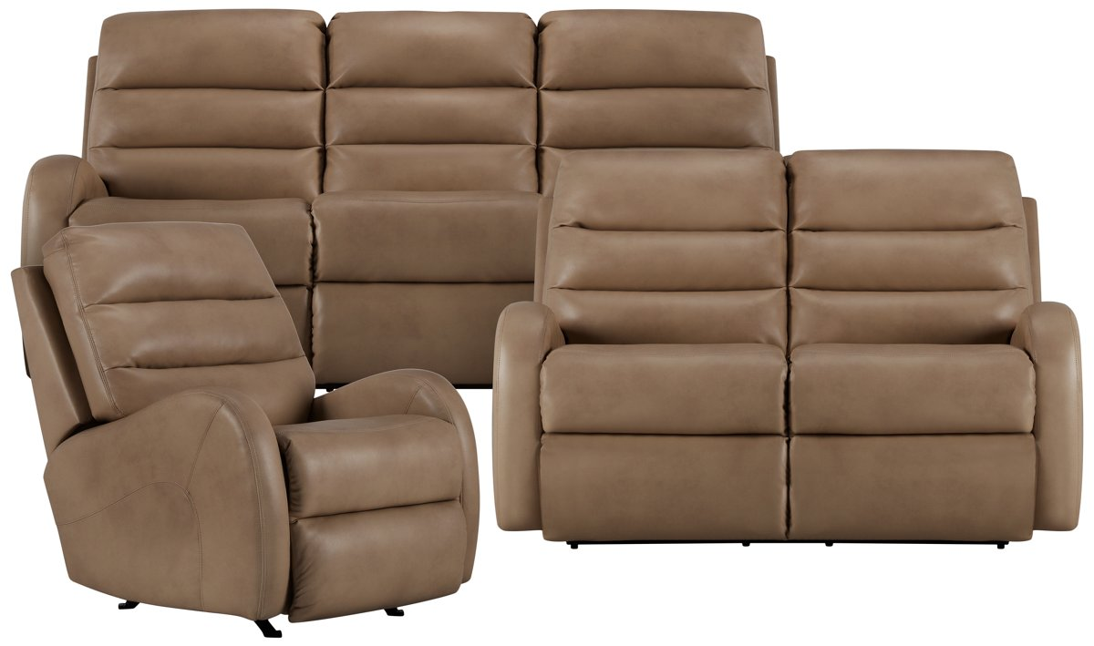City Furniture Carver Beige Microfiber Power Reclining Sofa