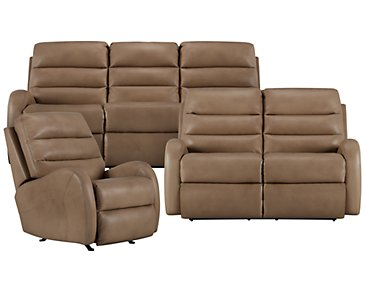 Carver Beige Microfiber Power Reclining Living Room