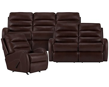 Carver Brown Microfiber Manually Reclining Living Room