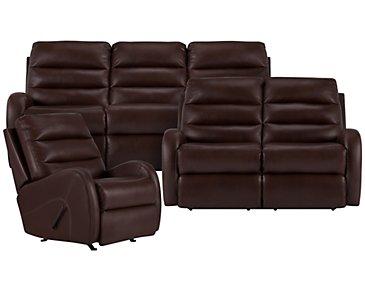 Carver Brown Microfiber Manually Reclining Living Room