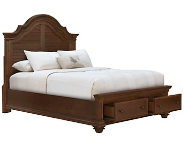 Antigua Mid Tone Panel Storage Bed
