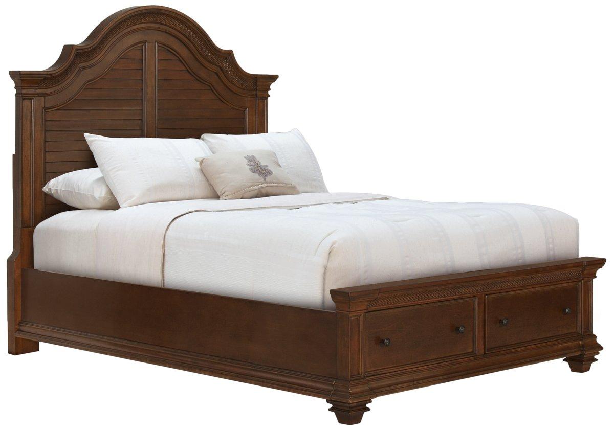 Antigua Mid Tone Wood Panel Storage Bed