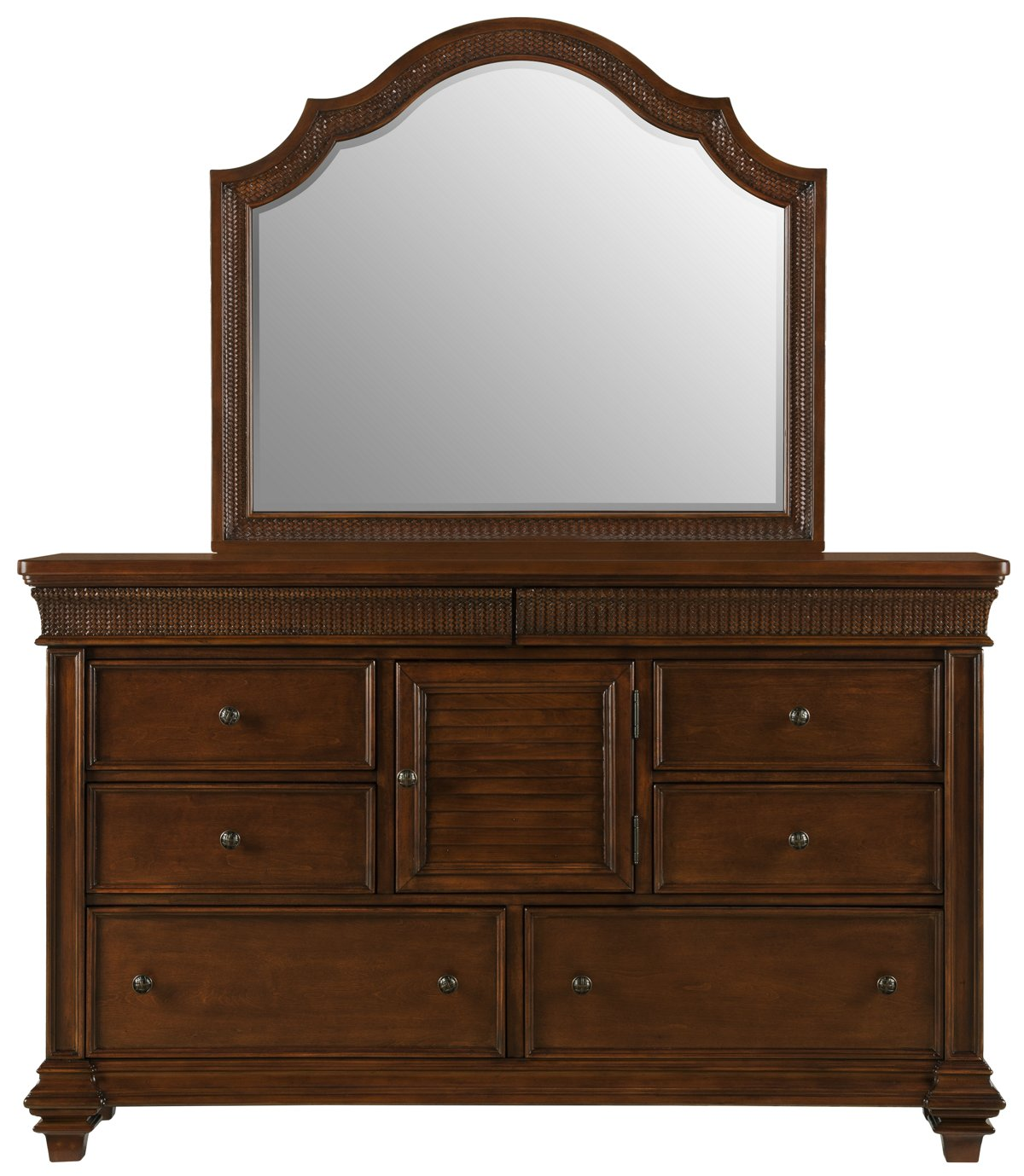 Antigua Mid Tone Wood Dresser & Mirror