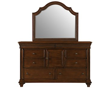 Antigua Mid Tone Dresser & Mirror