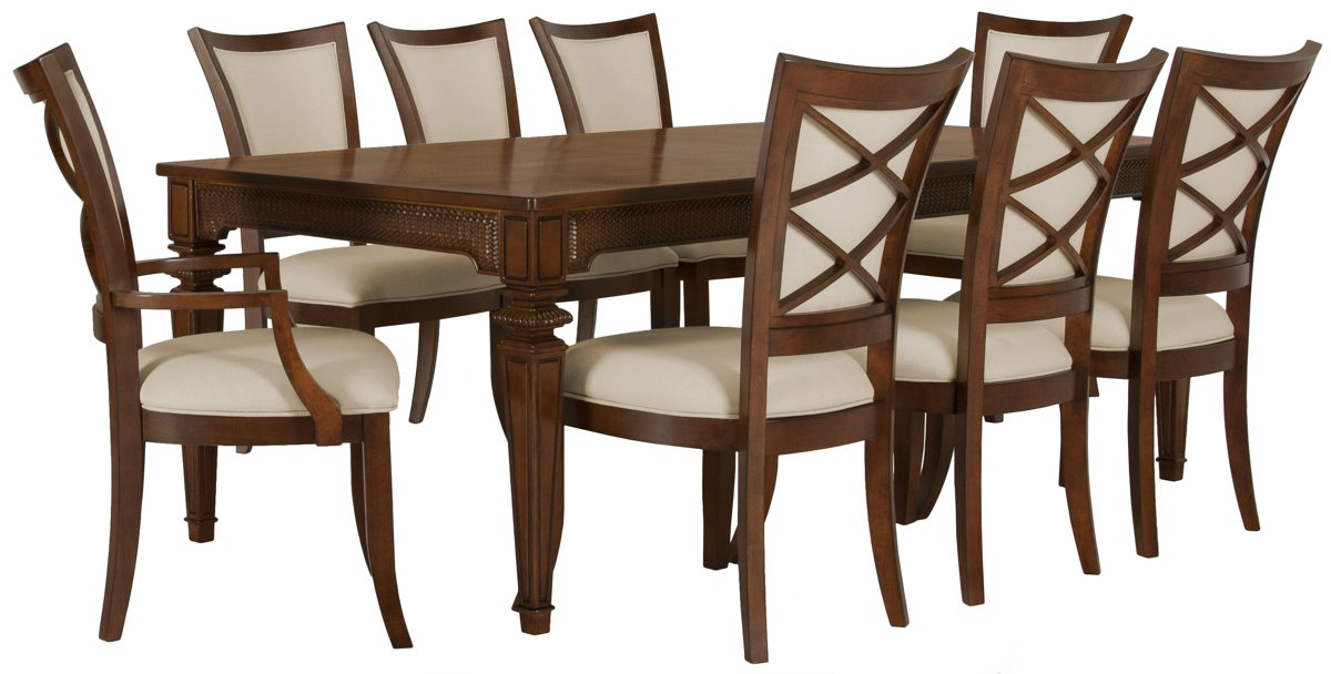 Antigua Mid Tone Rect Table & 4 Wood Chairs