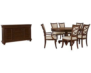Antigua Mid Tone Round Dining Room