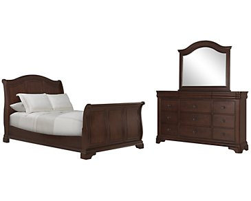 Cameron Dark Tone Sleigh Bedroom