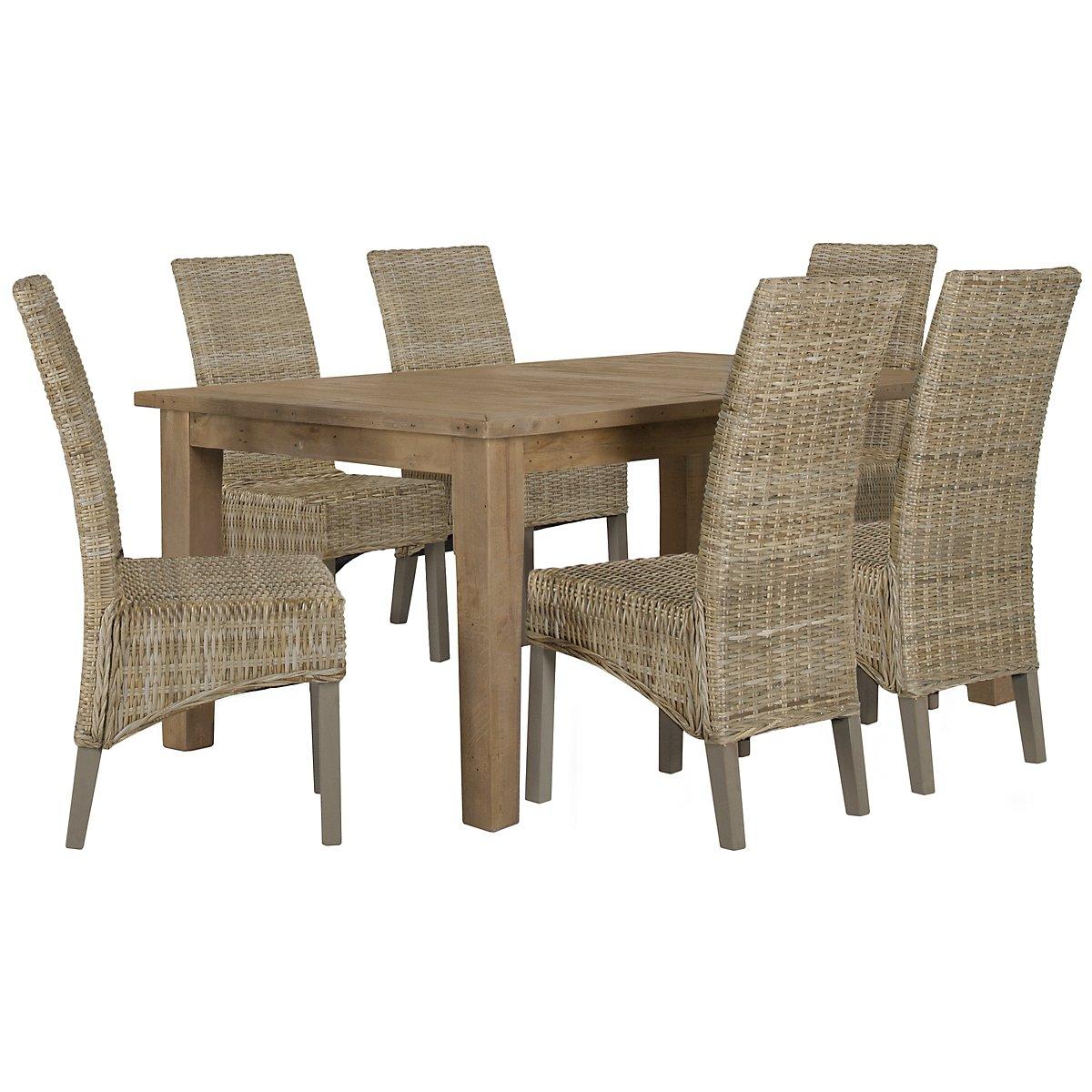 Jaden Light Tone Rectangular Table & 4 Woven Chairs