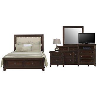 Harwich Dark Tone Upholstered Panel Storage Bedroom Package