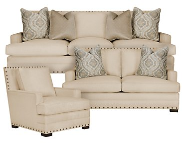 Cantor Beige Fabric Living Room