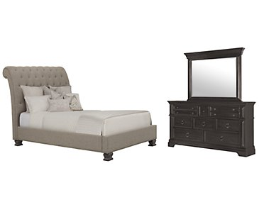 Emerson Gray Upholstered Platform Bedroom