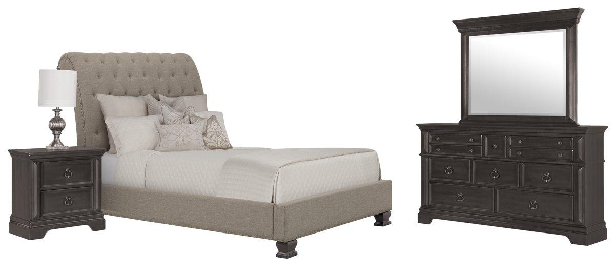 Emerson Gray Upholstered Platform Bedroom