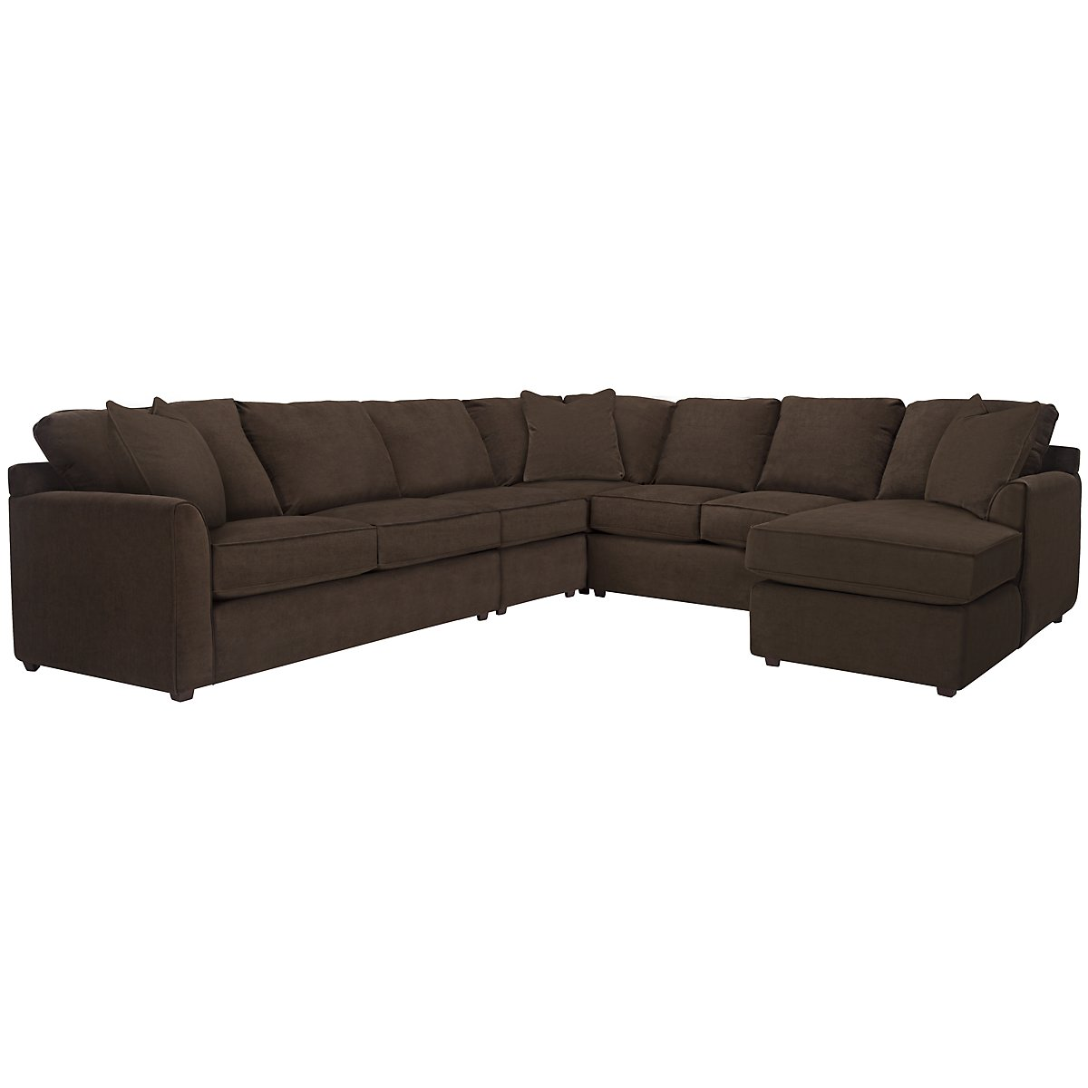 Express3 Dark Brown Microfiber Large Right Chaise Sectional