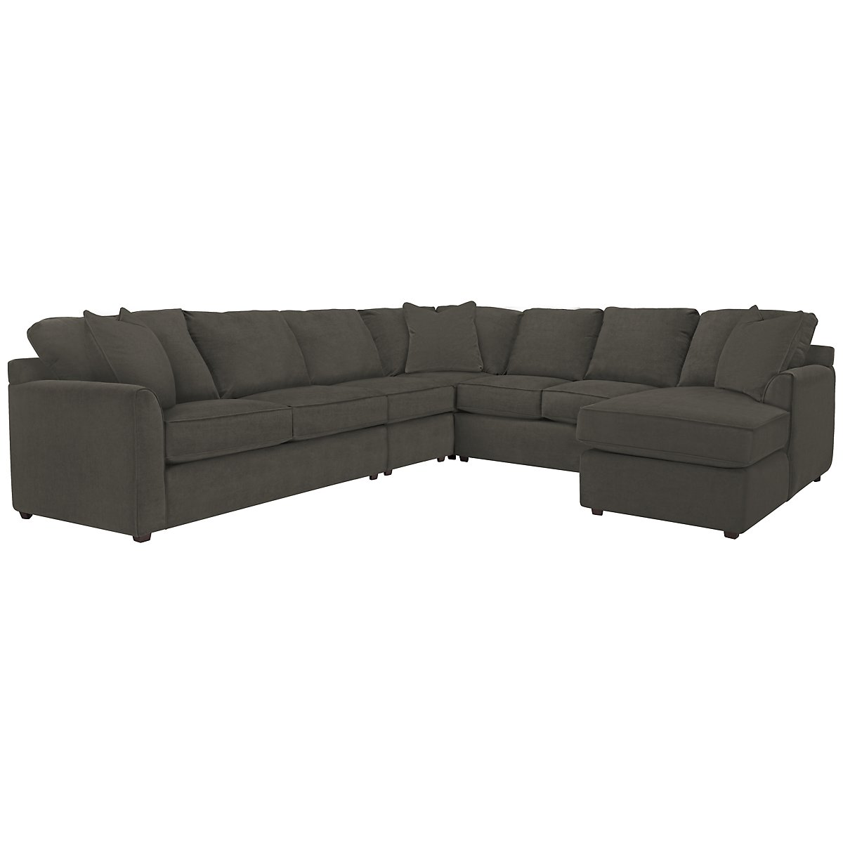 Express3 Dark Gray Microfiber Large Right Chaise Sectional