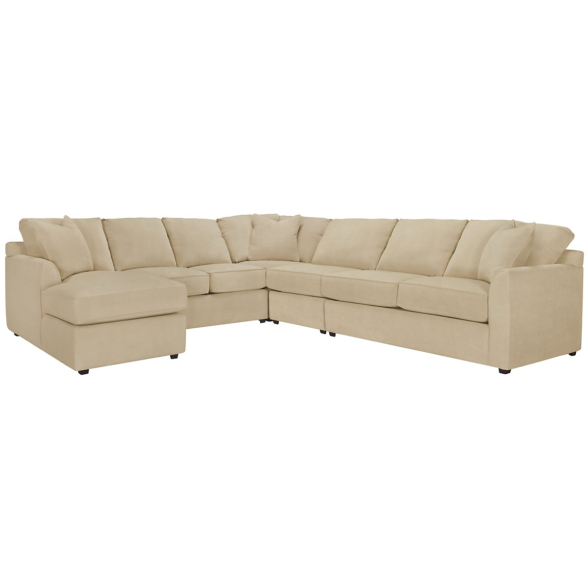Express3 Light Beige Microfiber Large Left Chaise Sectional