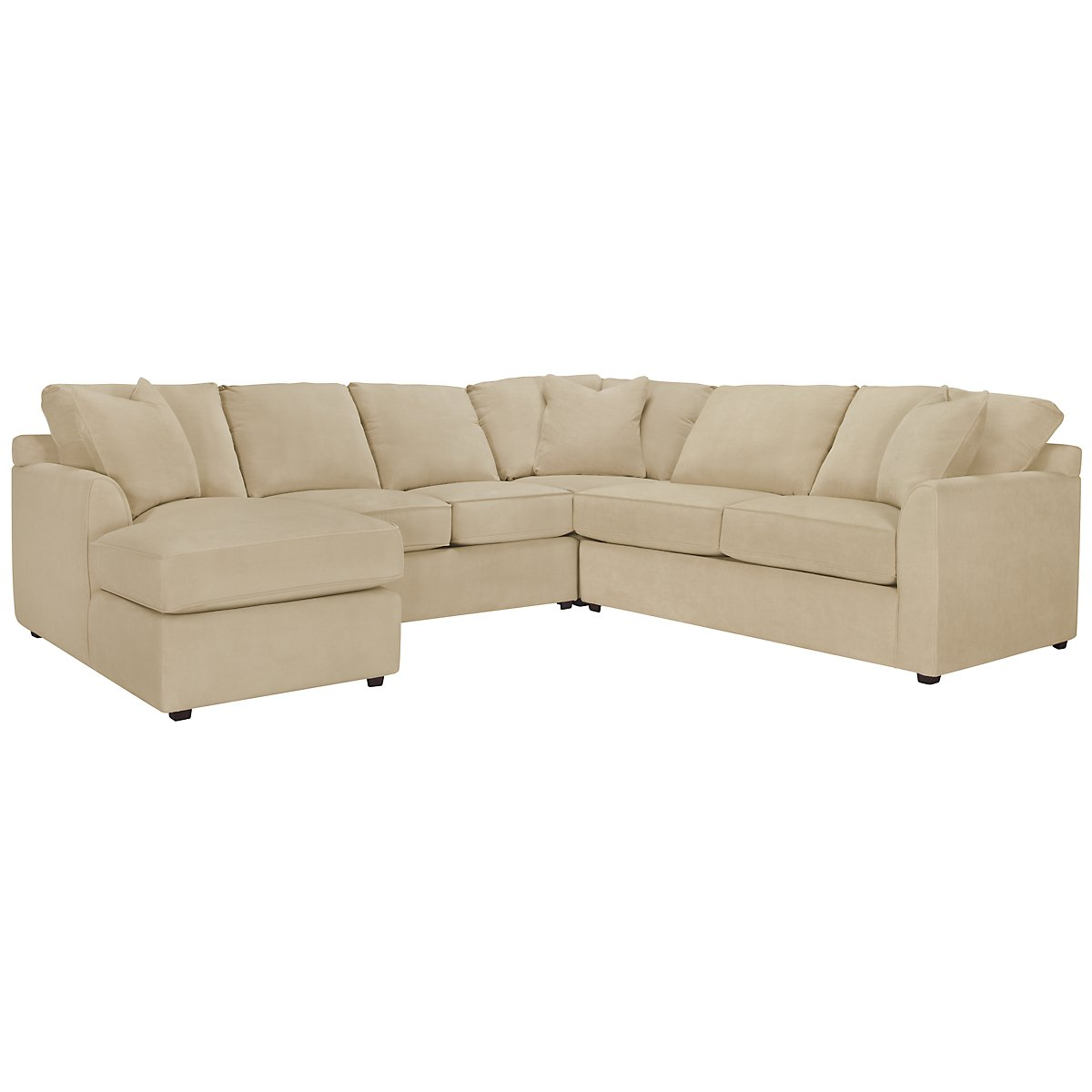 Express3 Light Beige Microfiber Small Left Chaise Sectional